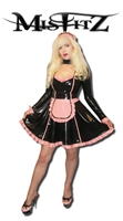 MISFITZ DELUXE BLACK & BABY PINK LATEX MAIDS DRESS