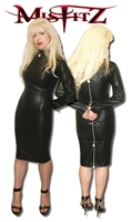 MISFITZ LEATHER LOOK PADLOCK PENCIL STRAIT JACKET DRESS