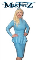 MISFITZ BABY BLUE LATEX  PEPLUM JACKET & SKIRT