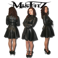MISFITZ LEATHER LOOK STRAITJACKET SKATER DRESS