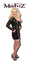 MISFITZ RUBBER LATEX BLACK/HOT PINK PIPING MICRO MINI SKIRT