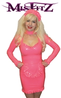 MISFITZ HOT PINK LATEX  FRILLY MISTRESS MAIDS DRESS