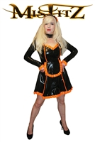 MISFITZ  BLACK & ORANGE LATEX SWEETHEART MAIDS DRESS