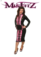 MISFITZ DELUXE BLACK & PINK  LATEX PENCIL GLAMOUR MAID