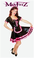 MISFITZ BLACK PVC MAIDS OUTFIT WITH HOT PINK SATIN TRIMS