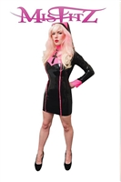 MISFITZ BLACK & HOT PINK LATEX NAUGHTY NUN OUTFIT