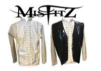 MISFITZ WHITE RUBBER LATEX FRILLY POETS SHIRT AND WAISTCOAT