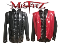 MISFITZ BLACK LATEX FRILLY POETS SHIRT & RED LATEX  WAISTCOAT