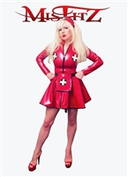 MISFITZ RED LATEX SKATER NURSE DRESS