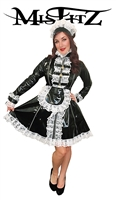 MISFITZ PVC 3 ZIP PADLOCK STRAITJACKET MAIDS DRESS