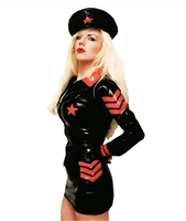 Misfitz latex military style mini skirt