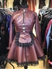 BURGUNDY/OXBLOOD  LEATHER LOOK STEAMPUNK  PADLOCK STRAITJACKET MAID