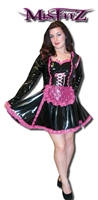 BLACK PVC & HOT PINK LACE MAIDS DRESS