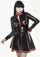 MISFITZ BLACK & RED LATEX SKATER NURSE UNIFORM