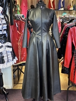 LEATHER LOOK  FULL LENGTH MISTRESS SKATER DRESS / COAT