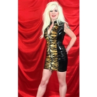 PVC & TIGER DRESS WITH TWO WAY ZIPPER