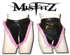 MISFITZ BLACK & PINK PVC OPEN CROTCH PANTIES