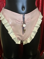 MISFITZ BABY PINK & WHITE LATEX PADLOCK PANTIES