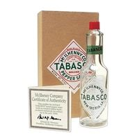 TABASCO Orig 1950s Fused Label Glass Military Bottle