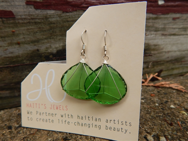 Single Drop Green Glass Earrings