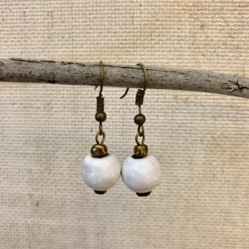 Simple Ceramic Earring - White