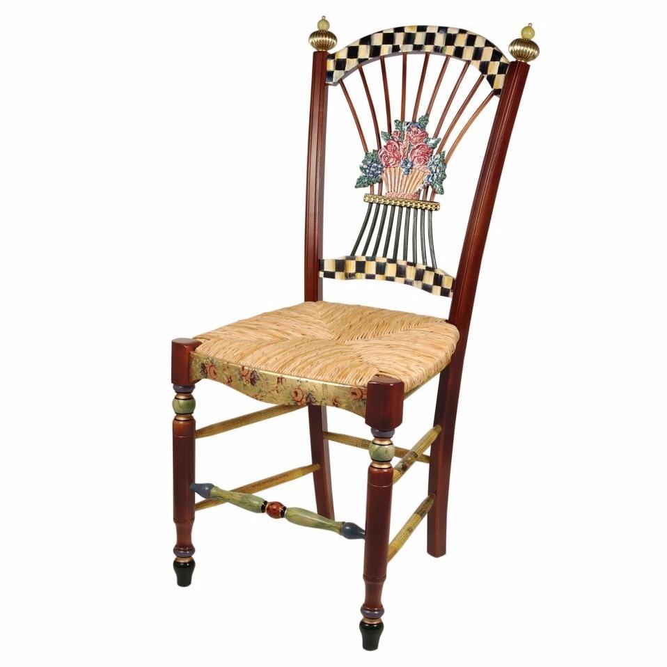 Great MacKenzie Childs Dark Flower Basket Side Chair