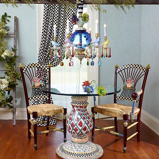 MacKenzie Childs Dark Flower Basket Side Chair