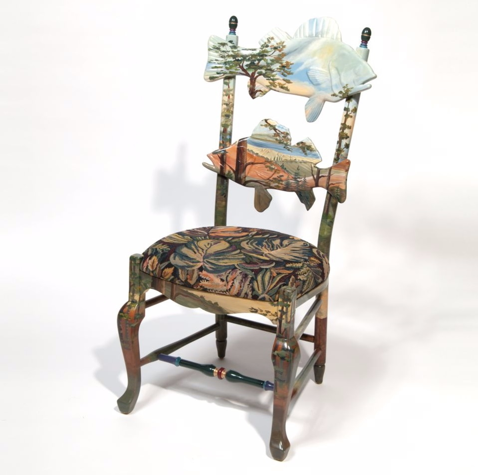 Mackenzie childs forest fish chair enjoy fast shipping for Mackenzie childs fish rug