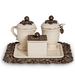 The GG Collection Creamer/Sugar/Sweetener Set On Tray