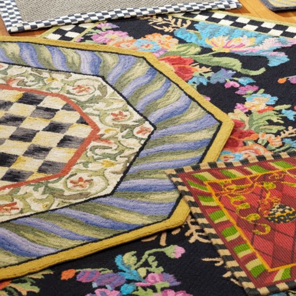 Mackenzie childs courtly check 5 ft octagonal wool rug for Mackenzie childs fish rug