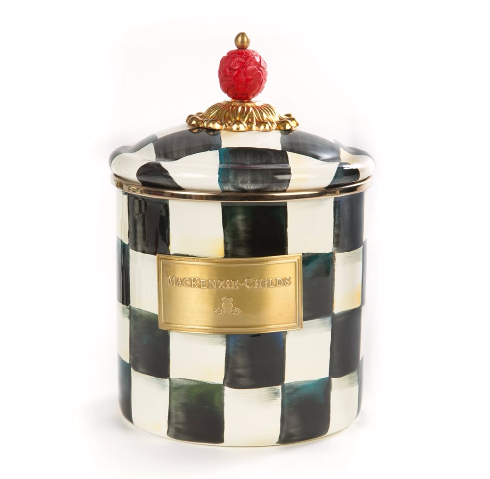 Designer Kitchen Canisters >> MacKenzie-Childs Enamelware Courtly Check Small Canister