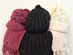 Hand-knit Scarf & Hat Set