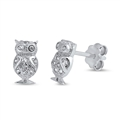 Silver Earrings with CZ - Owl