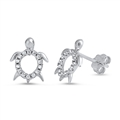 Silver Earrings with CZ - Turtle