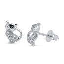 Silver Earrings with CZ - Cat