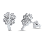 Silver Earrings with CZ - Clover Leaf