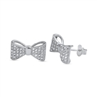 Silver Earrings with CZ - Ribbon