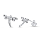 Silver Earrings with CZ - Dragonfly