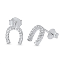 Silver Earrings with CZ - Horseshoe
