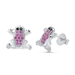 Silver Earrings with CZ - Frog