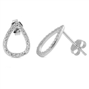 Silver Earrings with CZ - Teardrop