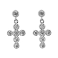 Silver Earrings with CZ - Cross