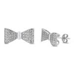 Silver Earrings with CZ - Bow
