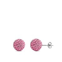 Silver Crystal Ball Earring - 10MM