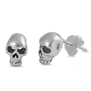 Silver Stud Earrings - Skull