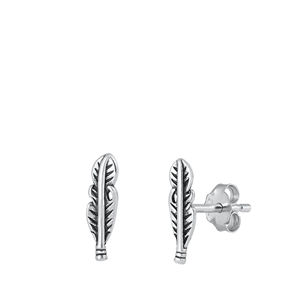 Silver Stud Earrings - Feather