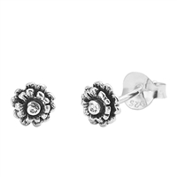 Silver Stud Earrings - Flower