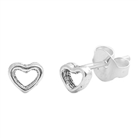 Silver Stud Earrings - Heart