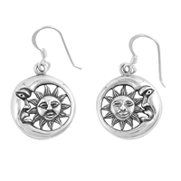 Silver Earrings - Sun and Moon