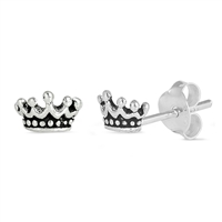 Silver Earrings - Crown